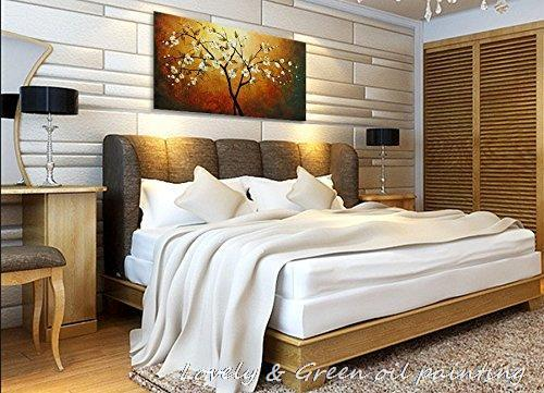 100% Handpainted White Tree Flowers Modern Simple Oil Paintings On Canvas Wall Art Pictures For Living Room Home Decoration