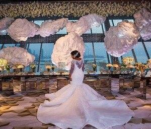 Image 2 - 2021 plus size africano nigeriano praia sereia vestidos de casamento querida lantejoulas frisado mangas compridas vestidos de noiva vestido de casamento