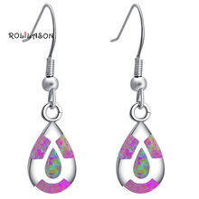 ROLILASON Delicate High Quality Red Fire Opal Silver Drop Earrings Fashion Jewelry OES652 for Women Party
