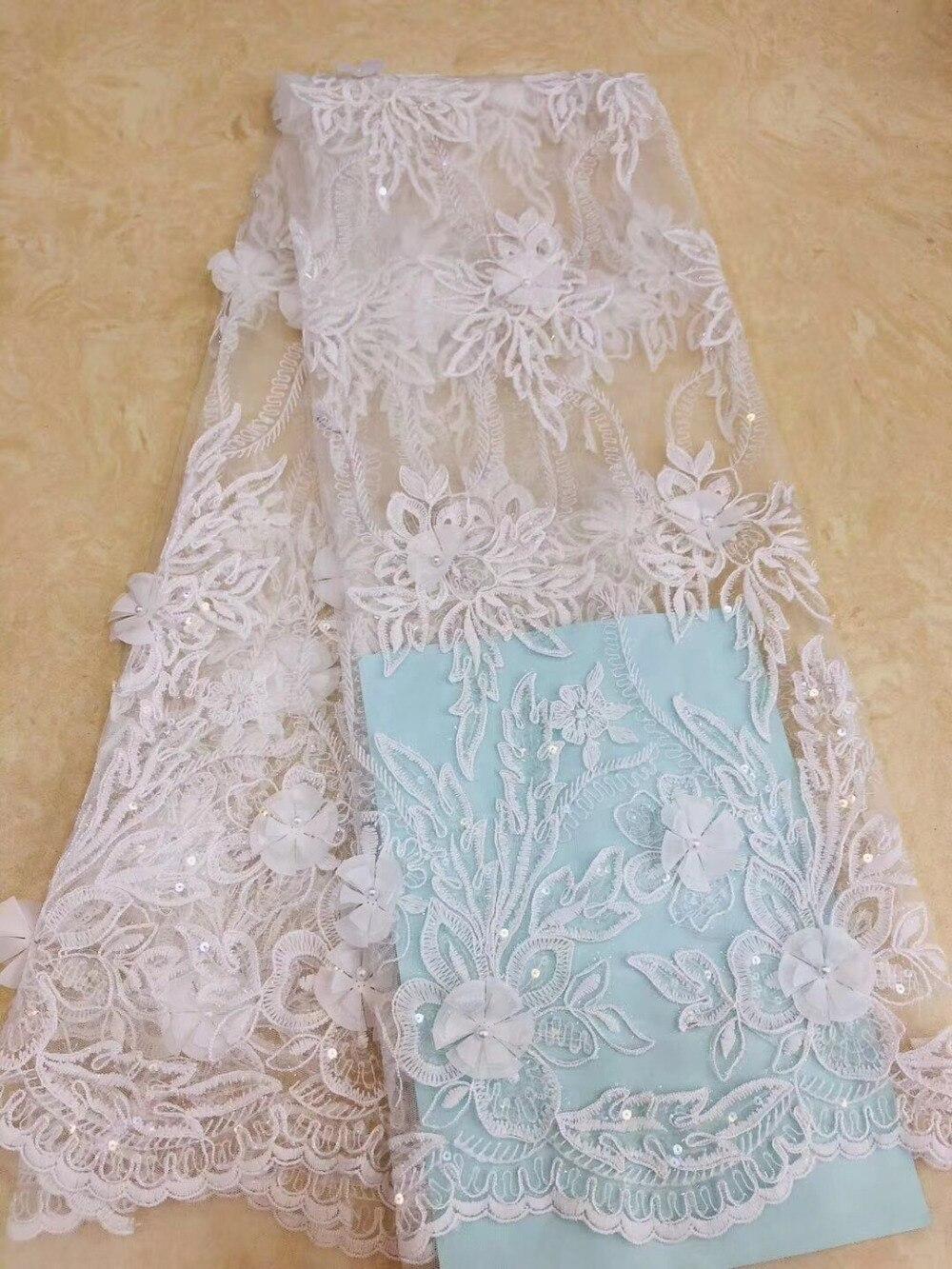 Tissu de luxe africain dentelle de mariée tissu de haute qualité 3d fleur broderie dentelle garniture africaine français dentelle tissu