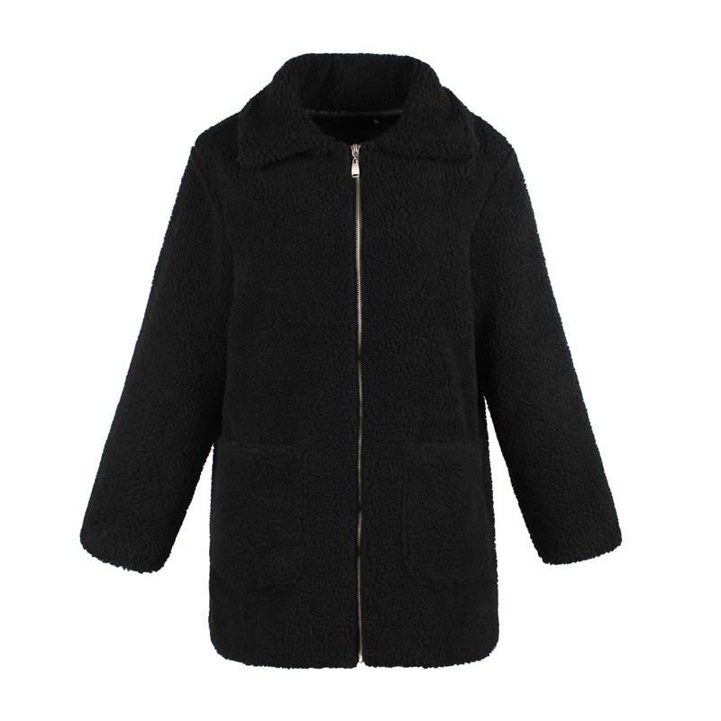 Europe and the United States street photo lapel imitation fur plush coat multi-color long wool coat (12)