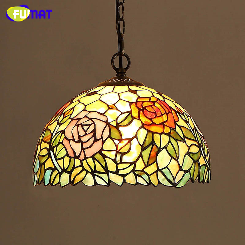 FUMAT Stained Glass Pendant Light European Style Colour Glass Pastoral Lights For Kitchen Living Room Vintage Elegant LED Lamps fumat stained glass lamp european vintage glass pendant light for living room baroque led lights artistic glass pendant light