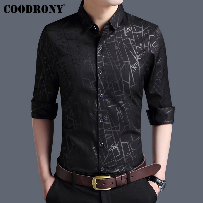 COODRONY Men Shirt Autumn New Arrivals Long Sleeve Business Dress Cotton Shirt Men Fashion Striped Slim Fit Casual Shirts 96002