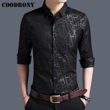 COODRONY hommes chemise automne nouveautés à manches longues robe daffaires coton chemise hommes mode rayé coupe cintrée chemises décontractées 96002