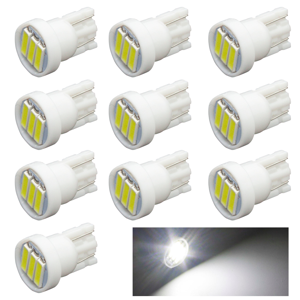 10x T10 3-7020 SMD LED White Lights led bulb dc 12v For Dome Festoon ,License Plate Lamp,Door,Trunk,Foot lamp Bulb 5pcs lot d6 0mmx16mmx50mm 2 flutes flat 100