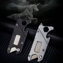 все цены на Stainless steel Outdoor Multi-function EDC key combination tool, cutting paper knife opener, screw wrench. Pocket Tools онлайн