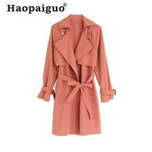 Womens Casual Outwear Autumn Winter Black Coat with Sashes Turn-Down Collar Jacket Women Coats Women's Winter Jackets and Coats цены онлайн