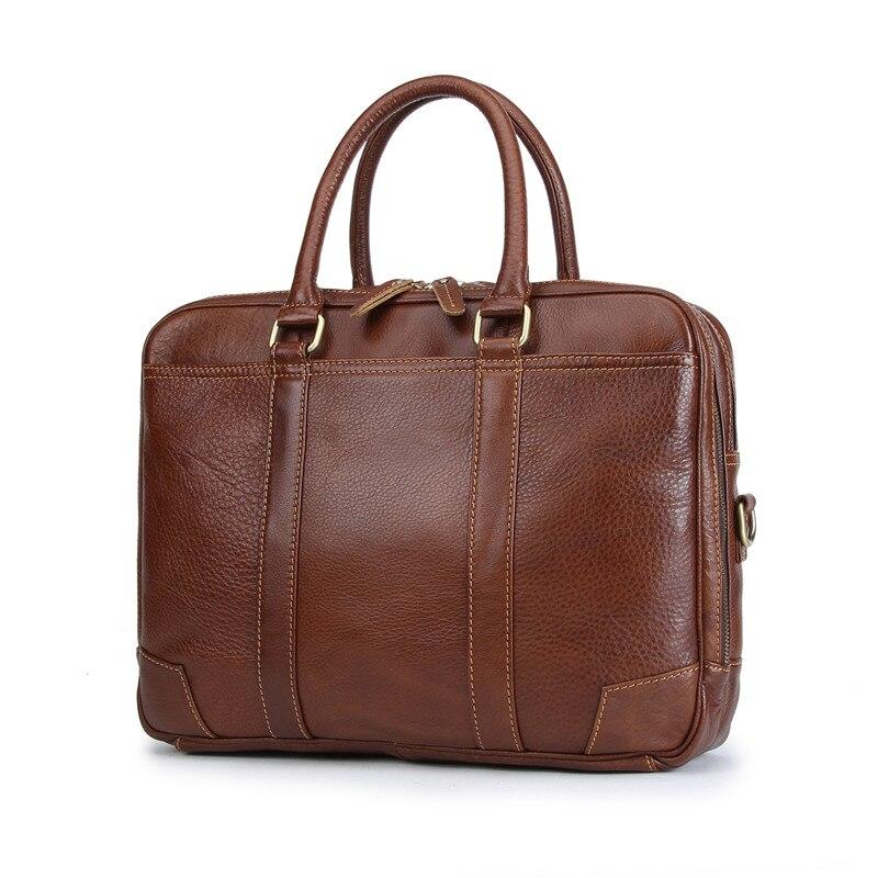 Nesitu Vintage de alta calidad marrón de cuero genuino 14 portátil Oficina de mensajero bolsas hombre cartera M1013 - 2