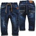3993 2-3 anos de bebê calças jeans meninos calças jeans azul marinho regular primavera outono crianças dos miúdos macio 2017 novo remendo