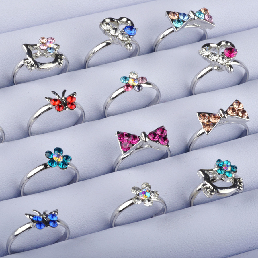 Silver-Rings Crystal Adjust Colorful Girl 10pcs Kid for Cartoon Cat-Bow Gift Aneis Infantis title=