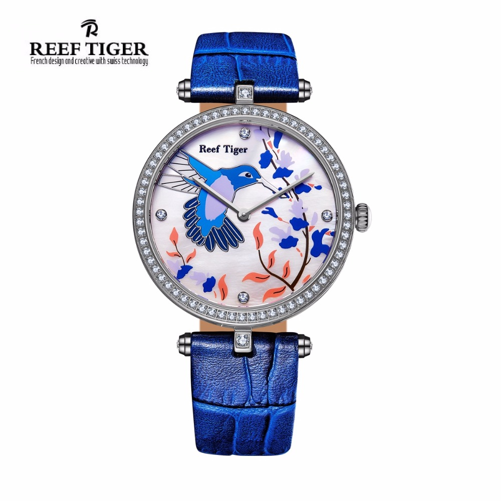 Reef Tiger/RT Watches Fashion Quartz Watches for Women MOP Dial Leather Strap Steel Lover Watches with Diamonds RGA1562 reef tiger designer fashion diamonds automatic watch with white mop dial steel watches for women rga1550