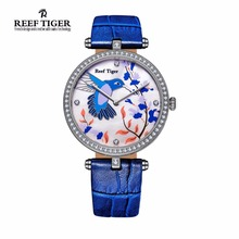 Reef Tiger/RT Watches Fashion Quartz Watches for Women MOP Dial Leather Strap Steel Lover Watches with Diamonds RGA1562(China)