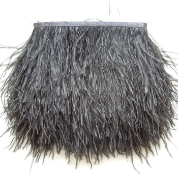 10 yards/lot black ostrich feather trimming fringe on Satin Header 5-6inch in width for Wedding Dress