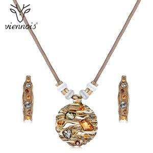 Image 1 - Viennes zestaw biżuterii kolorowe kryształy naszyjnik i kolczyki zestawy biżuterii dla kobiet Fashion Design zestaw biżuterii