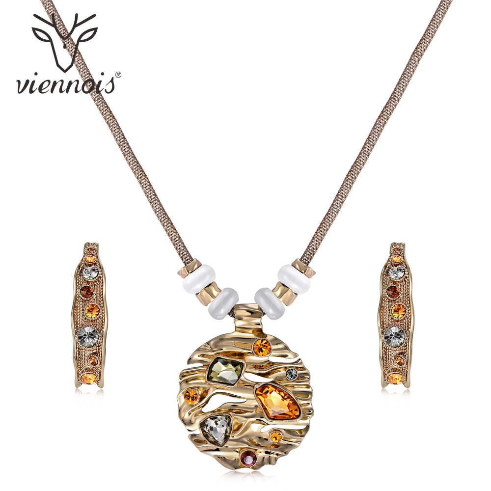 Viennois Coffee Gold Color Colorful Crystals Jewelry Sets for Women Round Pendants Moon Earrings Female Luxury Party Jewelry viennois silver color round moon blue pendant necklaces for women colorful rhinestone pendants female brand jewelry