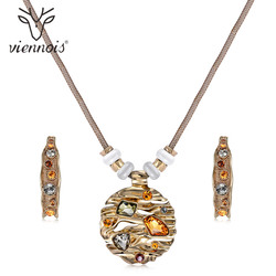 Viennois Coffee Gold Color Colorful Crystals Jewelry Sets for Women Round Pendants Moon Earrings Female Luxury Party Jewelry