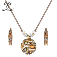 Viennois Coffee Gold Color Colorful Crystals Jewelry Sets For Women Round Pendants Moon Earrings Female Luxury