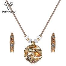 Viennois ensemble de bijoux pour femmes, collier et boucles doreilles, cristaux colorés, ensemble de bijoux Design à la mode