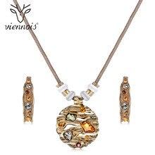 Viennois תכשיטים סט צבעוני קריסטלים תליון שרשרת ועגילי תכשיטי סטי עבור נשים אופנה עיצוב תכשיטי סט