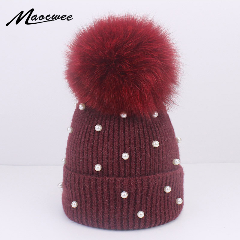 ae0e53f4828a Female Unisex Hat Fox Fur Pompon Pearl Wool Beanies Winter Warm Solid Crochet  Knitted Hat With