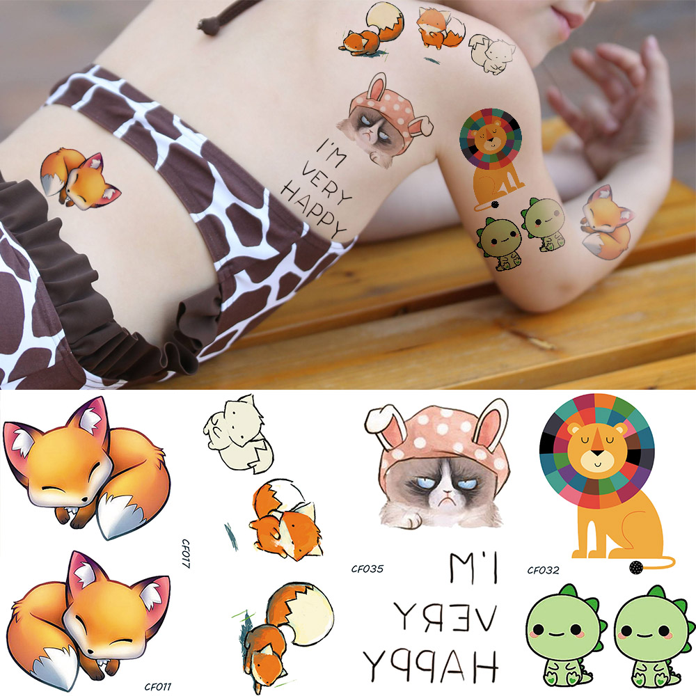 Kids Funny Cartoon Fake Temporary Tattoo DIY Water Transfer Watercolor Cute Fox Tatoos Stickers Flash Lion Cat Body Art