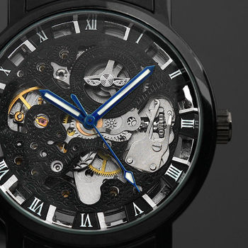 2016 New Black Mens Skeleton WristWatch Stainless steel Antique Steampunk Casual Automatic Skeleton Mechanical Watches Male