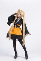 Free Shipping Naruto Shippuden Uzumaki Naruto Female Lolita Kimono Dress Anime Cosplay Costume/Cosplay Wig