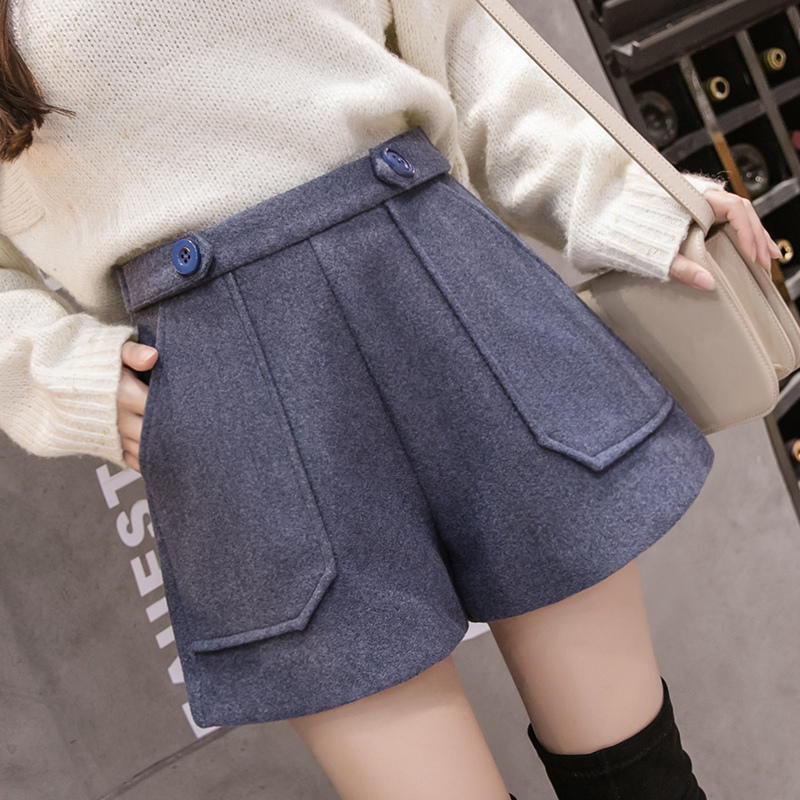 2019 Winter New Women Wool Shorts Female Fashion High Waist Loose Woolen Shorts Korean Causal Boots Shorts