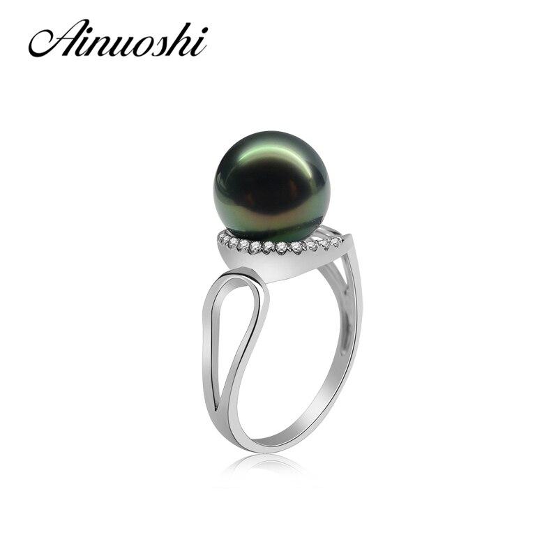 Ainuoshi 925 серебро Для женщин Обручение Свадебные Кольца ПРИРОДНЫЙ Tahitian культивированный жемчуг 9.5 10 мм круглый жемчуг Кольца ювелирные издели