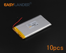 10pcs/Lot 3.7V 4000mAh Rechargeable li Polymer Li-ion Battery For Bluetooth Notebook Tablet PC Consumer electronics GPS 725290