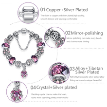 925 Silver Color Love Heart Charm Bracelets & Bangles For Women Purple Crystal Beads Bracelet