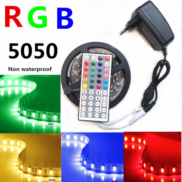 5M 300Led 5050 RGB Led Strip Non-waterproof Color Changing Led Fleixble Strips Kit + 44 Keys Remote Controller + DC 12V Power