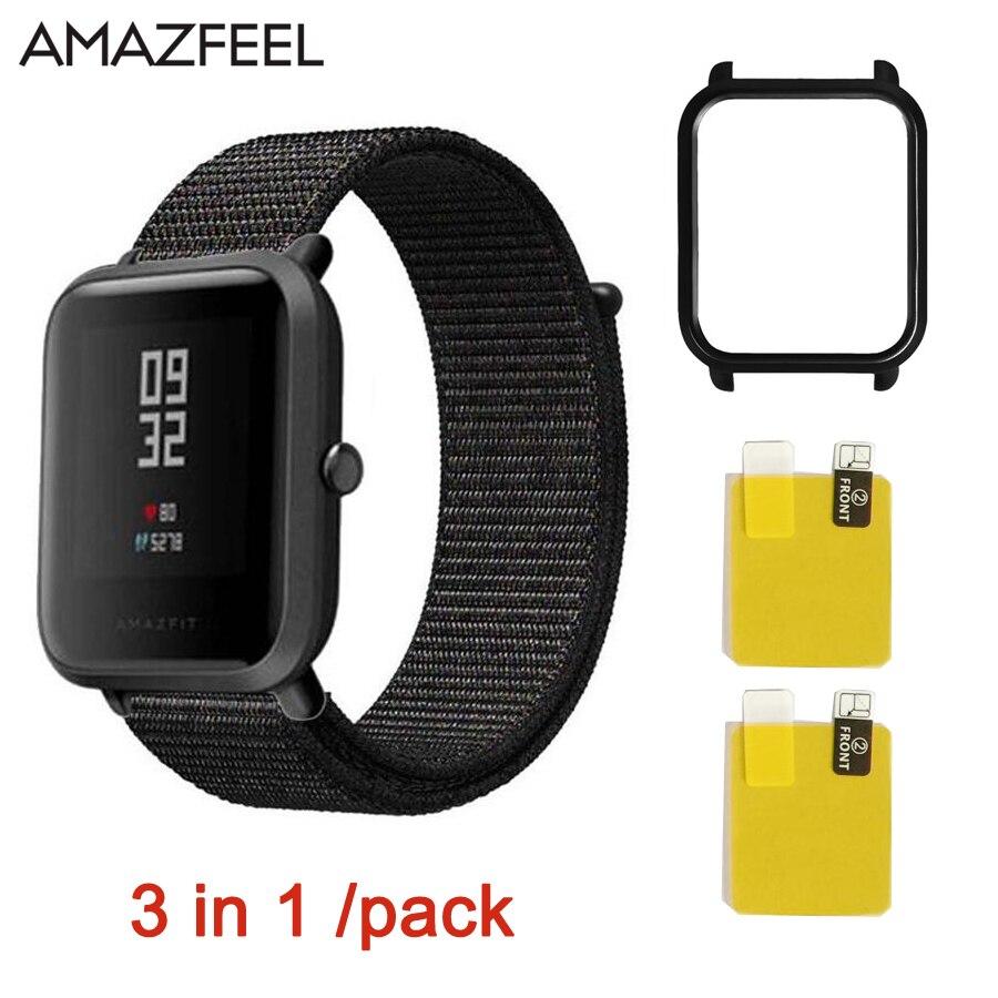 Für Huami Amazfit bip jugend Uhr Strap 3in1 Smart Zubehör nylon Band für Xiaomi Sport Uhr Amazfit strap Ersatz Band