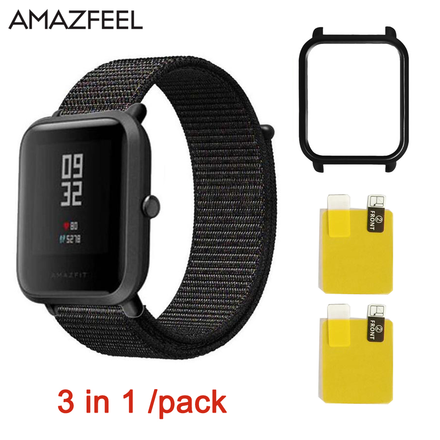 For Huami Amazfit bip youth Watch Strap 3in1 Smart Accessories nylon Band for Xiaomi Sport Watch Amazfit strap Replacement Band cool magic sticker canvas strap wrist band for huami amazfit bip youth watch fitness tracker fitness braceletdrop shopping