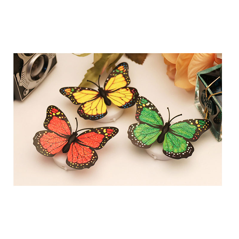 10 piece Creative simulation LED butterfly light colorful Nightlight / paste flash Butterfly Stickers