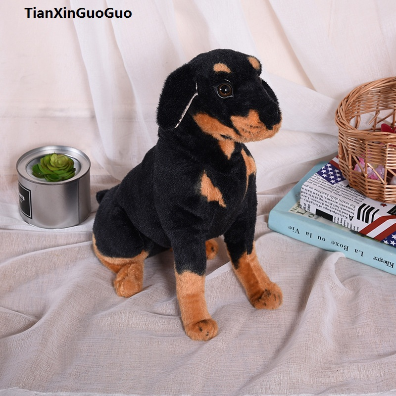 large 42cm squatting Rottweiler dog plush toy doll birthday gift h2302 аксессуар алсил 3 3г