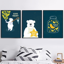 Cartoon Bear Star Moon Nordic Posters And Prints Wall Art Canvas Painting Animal Pictures Baby Boy Girl Room Nursery Decor
