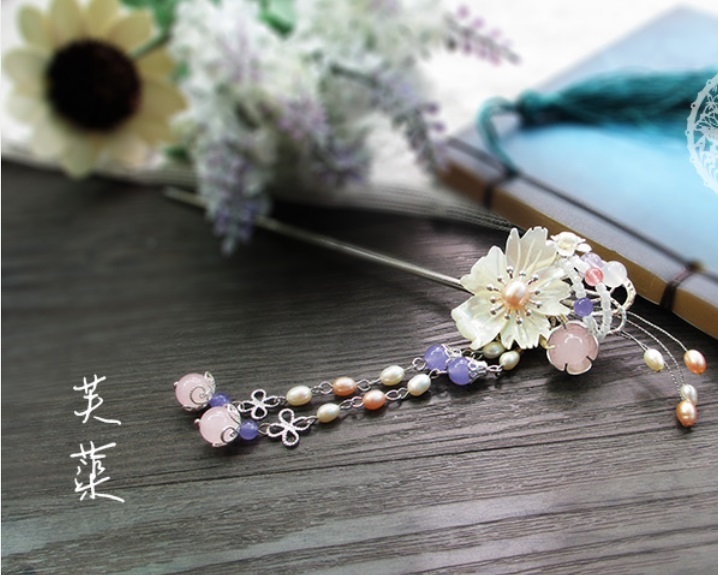 Fu Qu Shell Flower Pearl and Pink Agate Beads Hair Stick Vintage Chinese Hanfu Costume Accessories Tassel Hair Stick