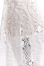 135cm*100cm French sequins Lace Fabric for wedding dress sequin off white lace embroidered applique DIY party dresses fabrics