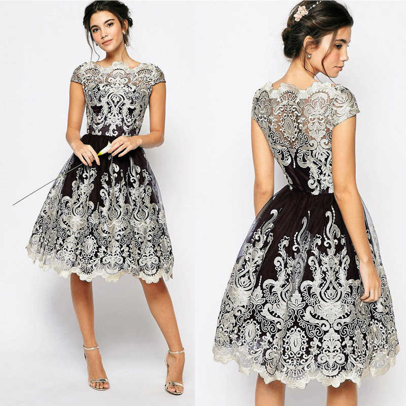 2018 Fashion Formal Elegant Women Evening Party Dress 5 Style Lace Floral A-Line High Waist Knee-Length Dress