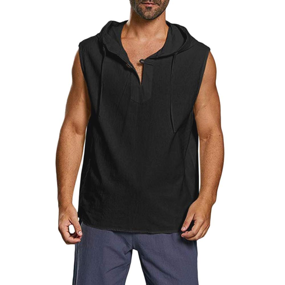 Hooded Casual Men/'s Baggy Cotton Linen Button Beach Sleeveless Shirt Tank Top AK