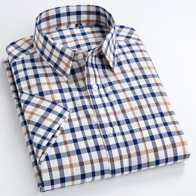 Men's Standard-Fit Short-Sleeve Checked Plaid Shirt Patch Chest Pocket Thin Soft 100% Cotton Button-Collar Striped Dress Shirt