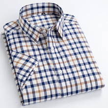 Men's Standard-Fit Short-Sleeve Checked Plaid Shirt Patch Chest Pocket Thin Soft