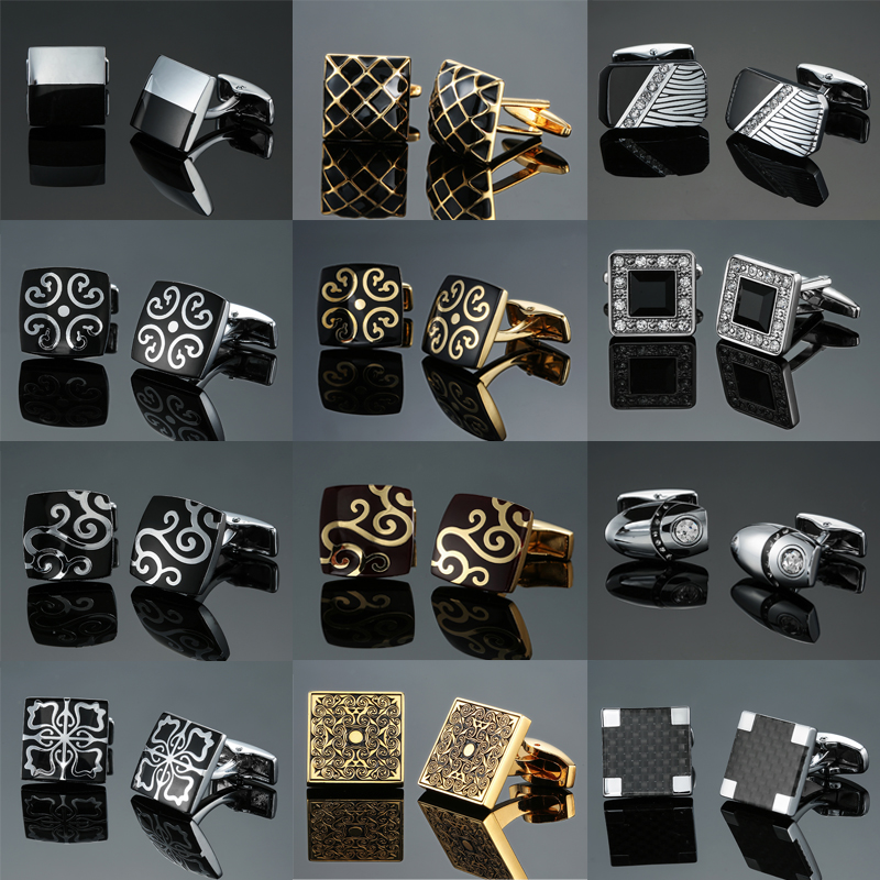 Novelty cuff links White black Crystal enamels High quality French shirts cufflinks for men's business wedding gifts Jewellery