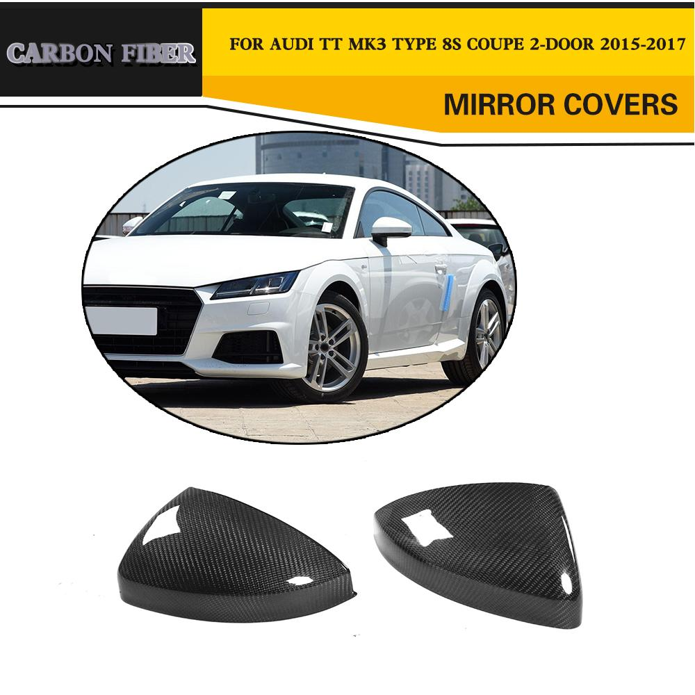 For Audi TT TTS TTRS 15-19 Carbon Mirror Cover Cap With Lane Assist Replacement