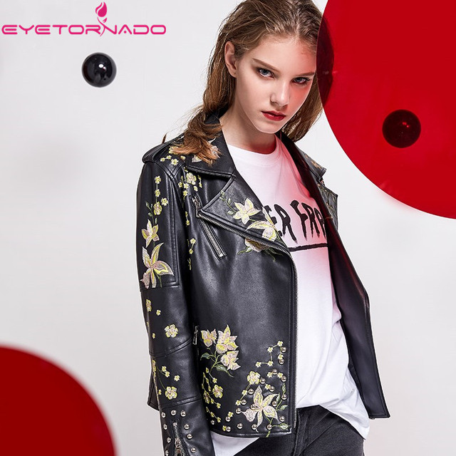 4f31ca42d Women flower embroidery faux leather PU jacket autumn biker motorcycle  casual zipper bomber short black basic punk jacket E6292-in Leather & Suede  ...