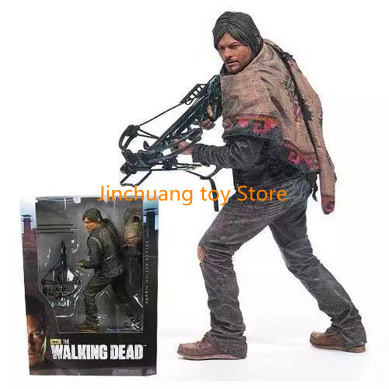10 inch The Walking Dead Daryl Dixon Crossbow men PVC Movie TV Action Figure Collectible Model Toy doll gift 25cm DE317 neca the evil dead ash vs evil dead ash williams eligos pvc action figure collectible model toy 18cm kt3427