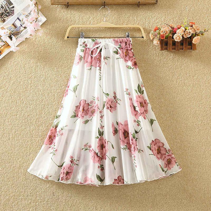 Yocalor Белая Летняя юбка с высокой талией Плюс Размер трапециевидной формы с цветочным принтом женская юбка качели женские винтажные юбки бохо
