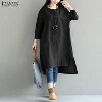 Oversized Vestidos 2017 ZANZEA Women Vintage Cotton Linen Dress Striped Long Sleeve Asymmetric Loose Mid Calf