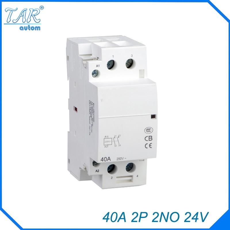 Auxiliar de partida 40A 24 V 2NO 50 ou 60 HZ rail Din Ménage AC Contacteur